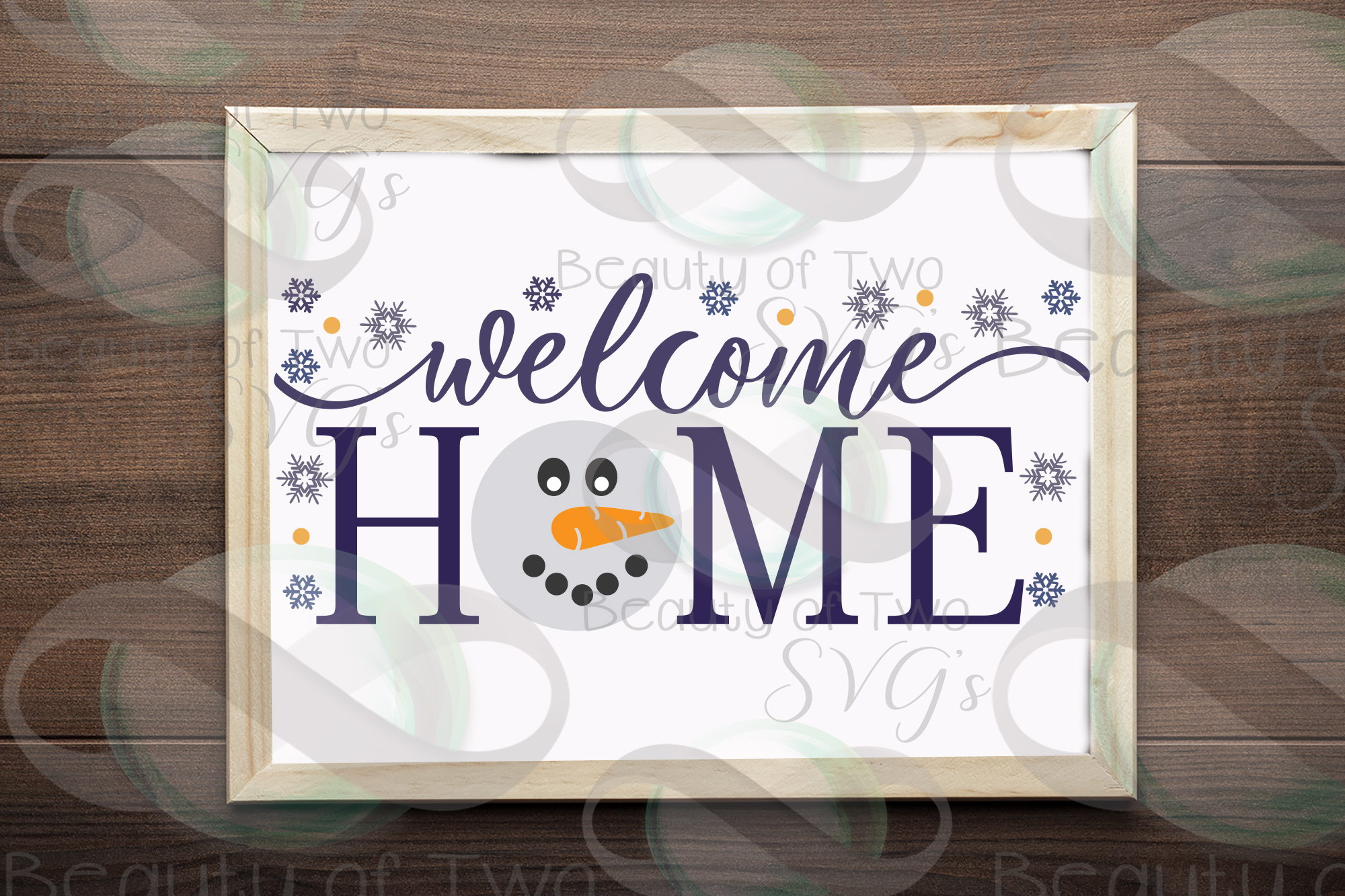 Welcome Home Snowman svg, Snowman Winter svg sign, snowflake example image 2