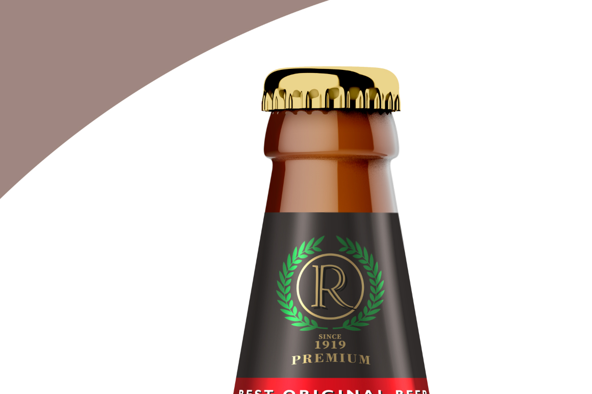 Amber Glass Beer Bottle Mockup 500ml example image 5