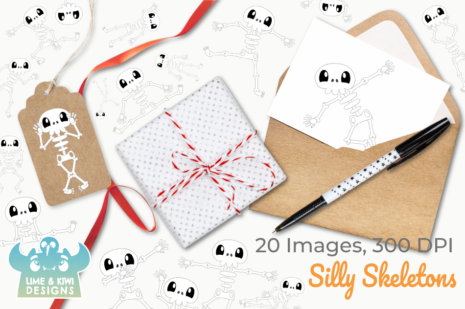 Silly Skeletons Clipart, Instant Download Vector Art example image 4