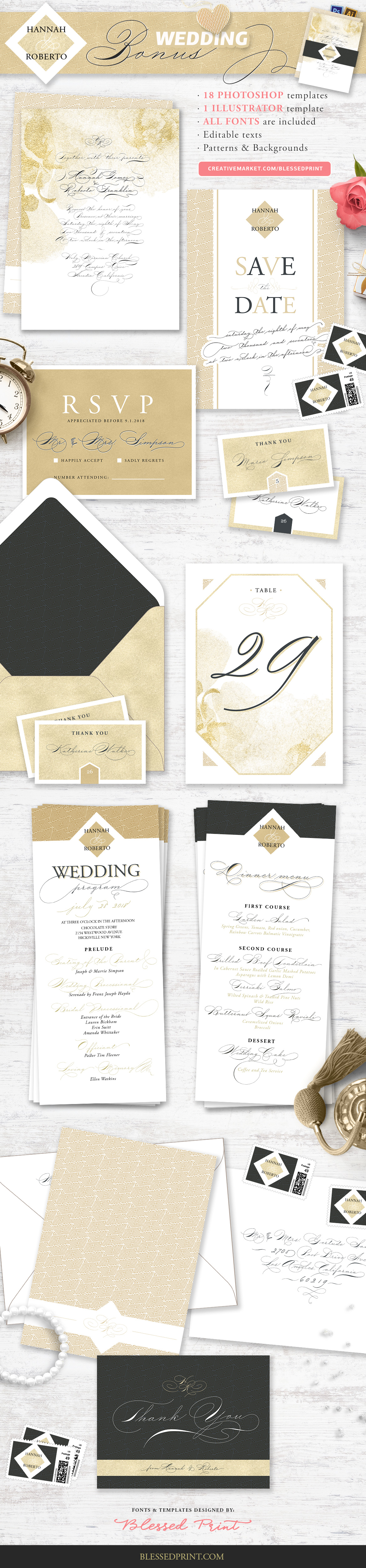 The Wedding Script & Invitation set example image 10