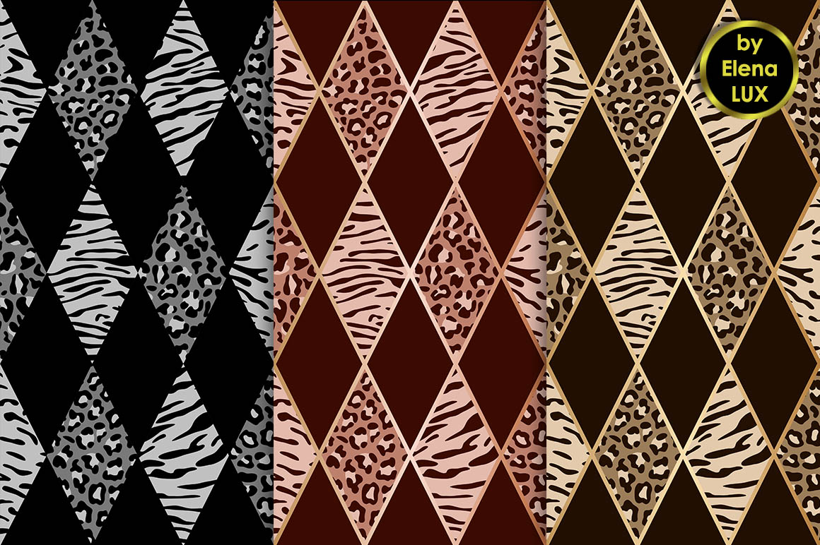 Tiger and Leopard Seamless Set example image 2