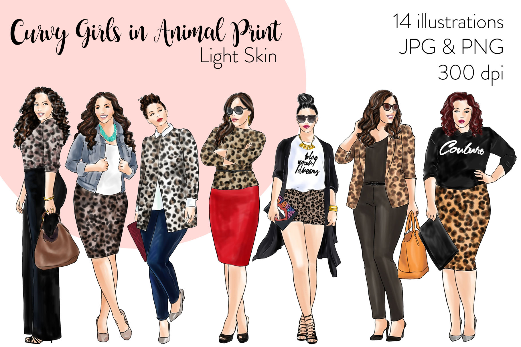 Fashion clipart - Curvy Girls in Animal Print - Light Skin example image 1