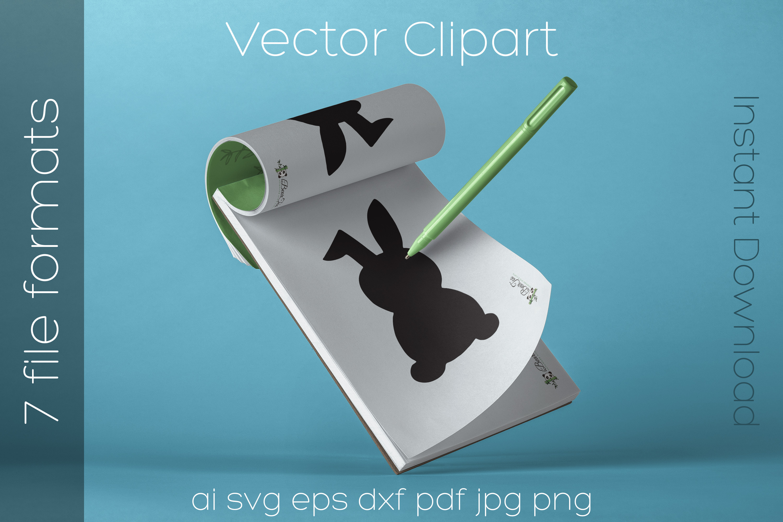 Rabbit SVG Black Clipart Bunny Drawing Vector Cut Files example image 2