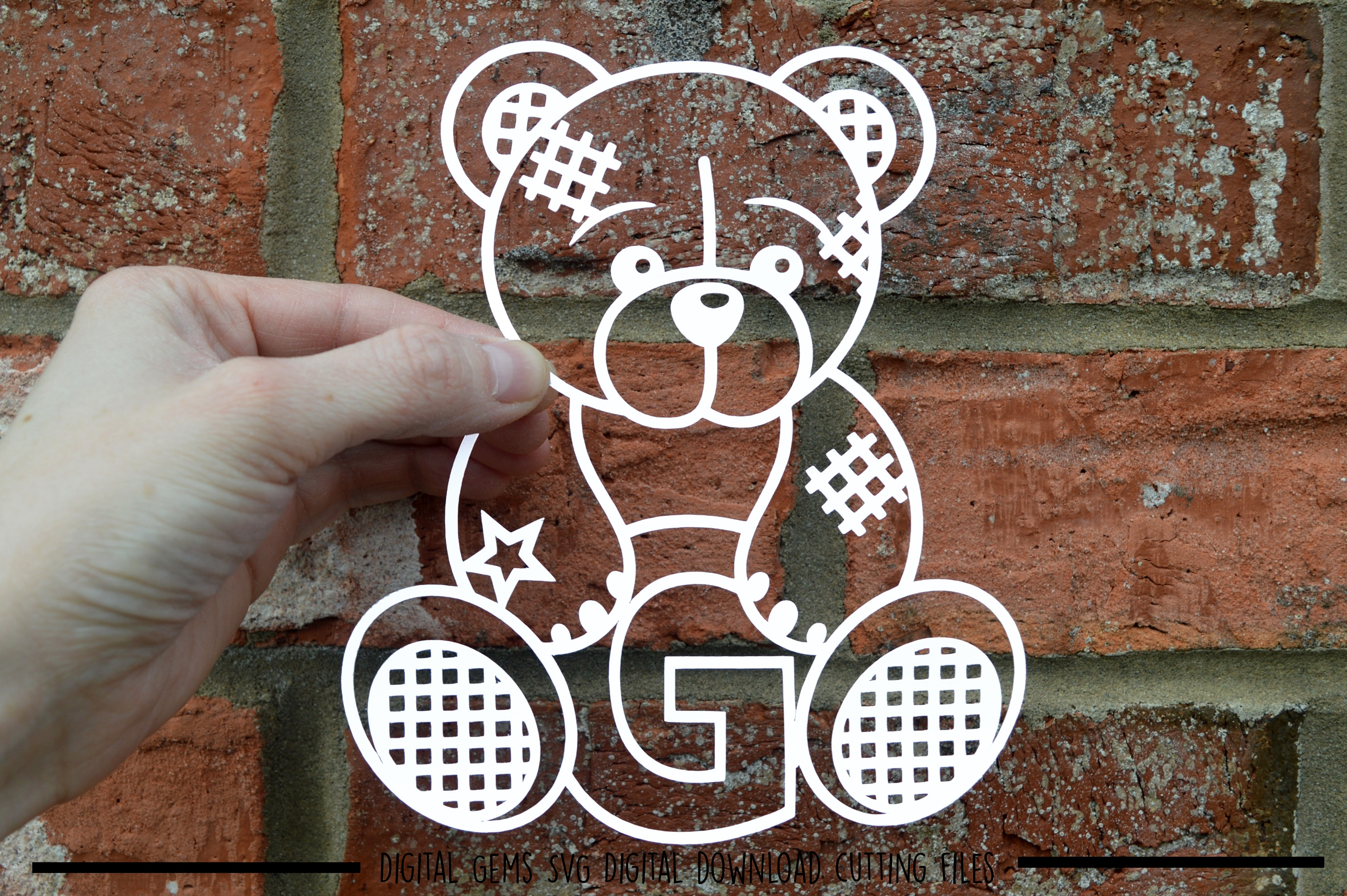 Alphabet teddy bear paper cuts SVG / DXF / EPS files example image 8