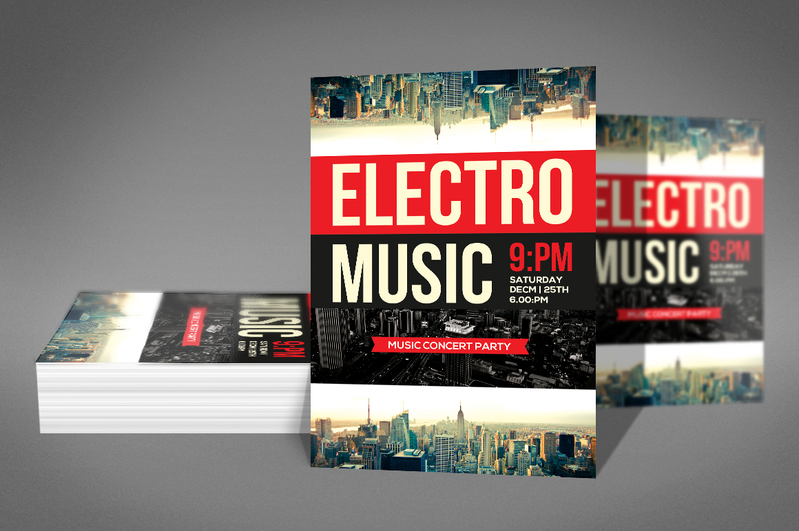 Modern Electro Music Flyer example image 2