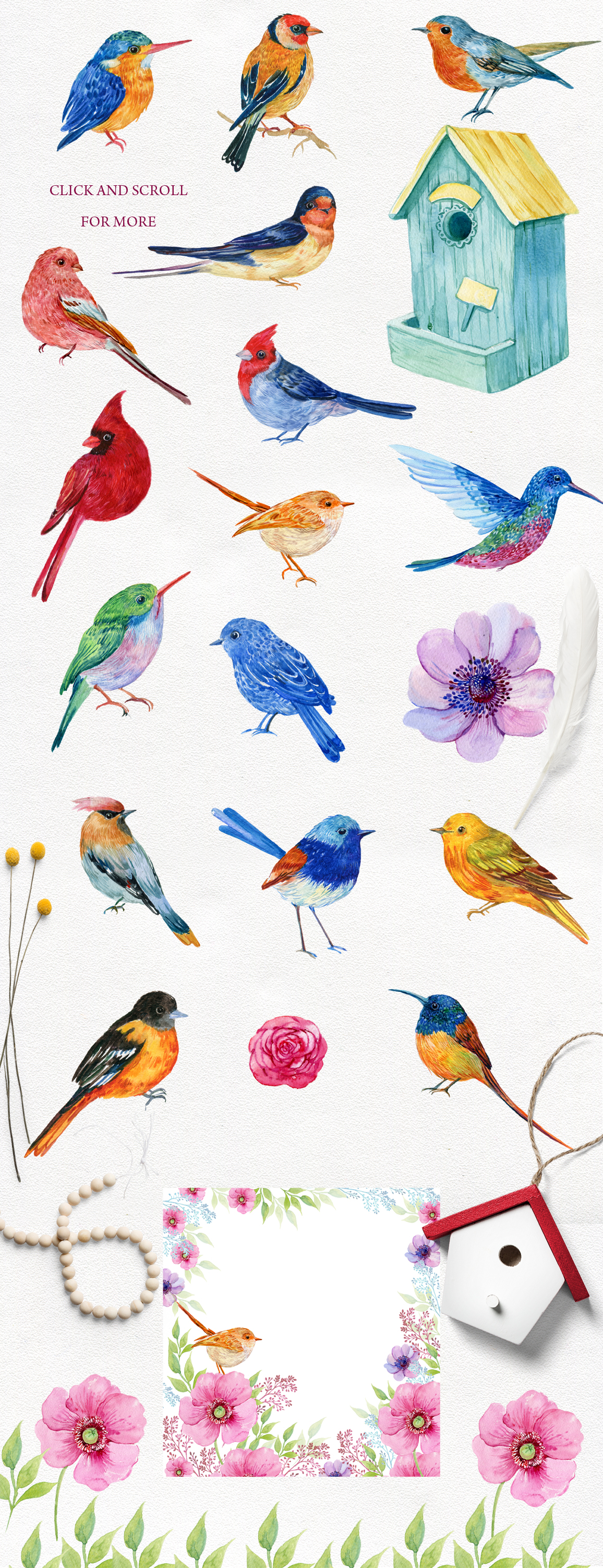 30 little birds.watercolor example image 7