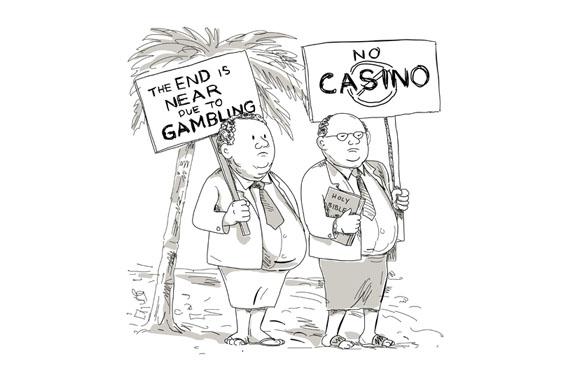 Fat Samoan Preacher Protesting Cartoon example image 1