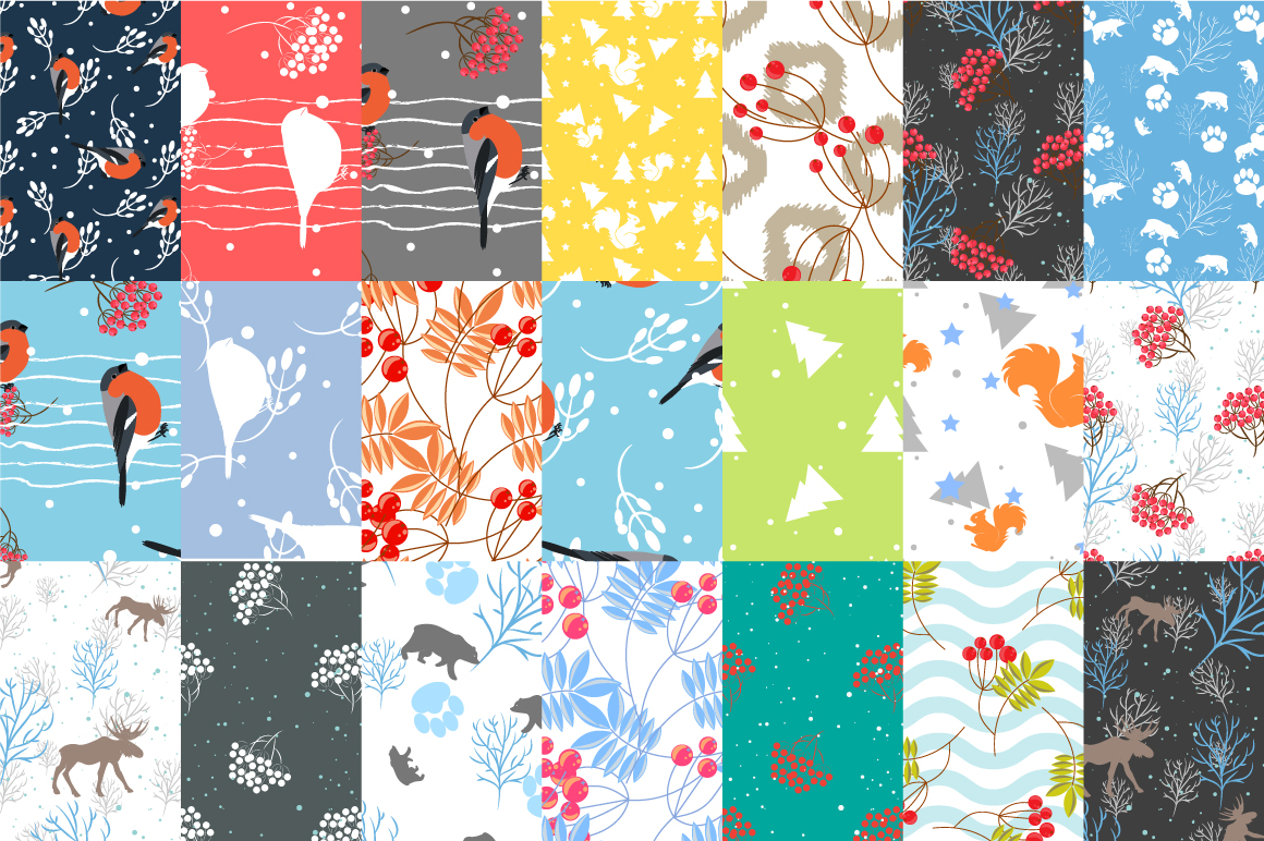 21 Winter seamless patterns example image 3
