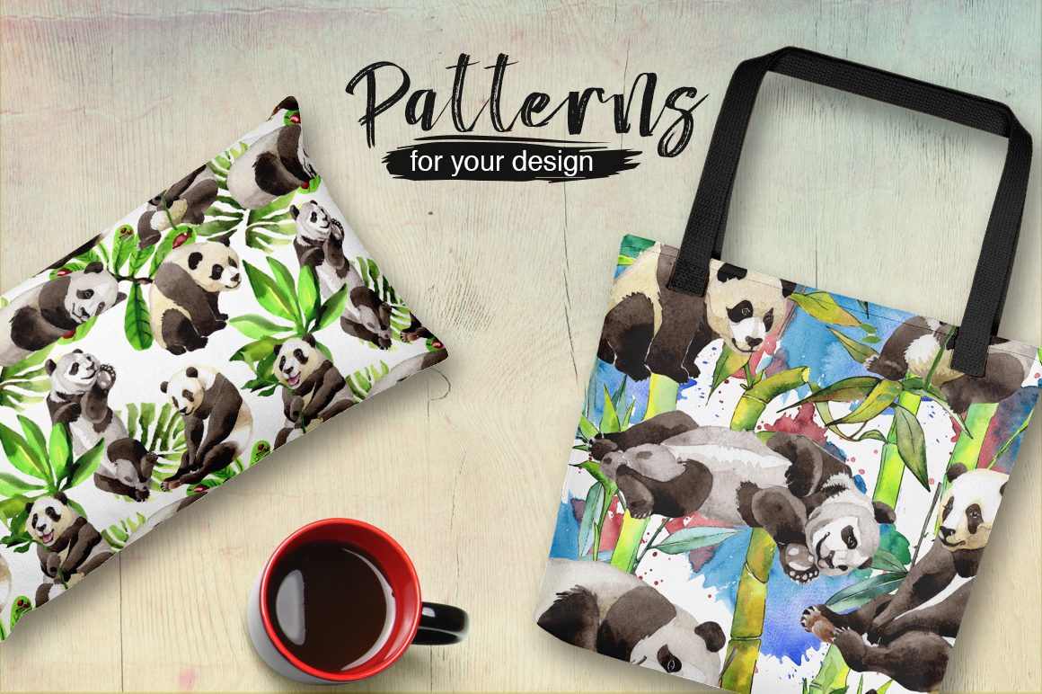 Panda wild animal PNG watercolor set example image 2