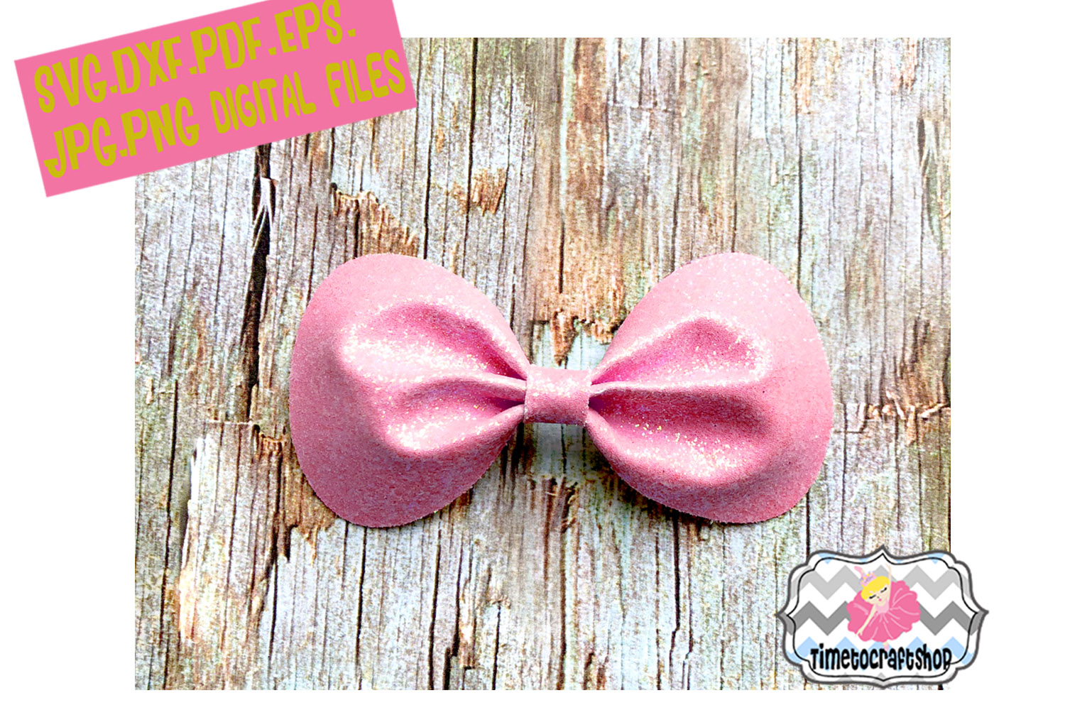 Pinch Center Round Corners Hair Bow Template example image 1