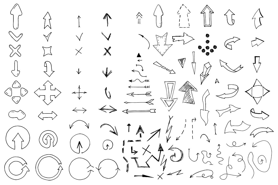 Doodle arrows collection. Hand drawn example image 7