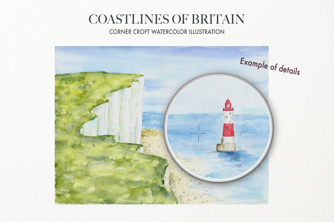 Watercolor Coast of Britain For Instant Download example image 4