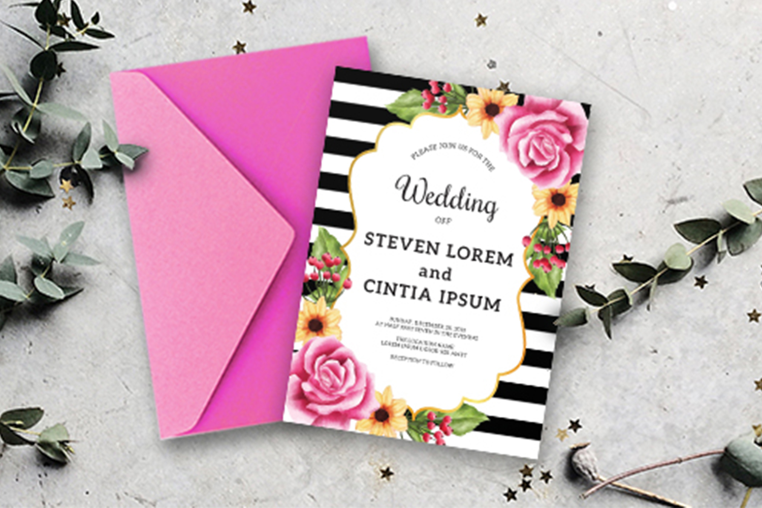 Wedding invitation floral rose Collection example image 2