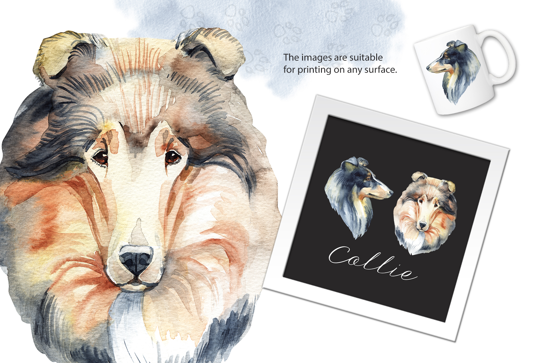 Watercolor dog - Collie example image 2