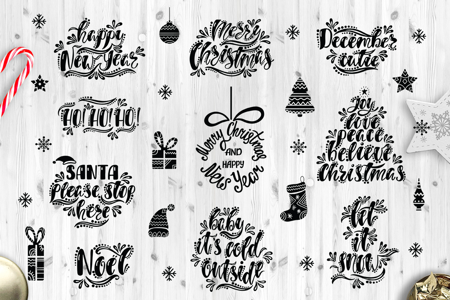 Christmas SVG Bundle. Holiday vector clipart. Cutting Files. example image 2