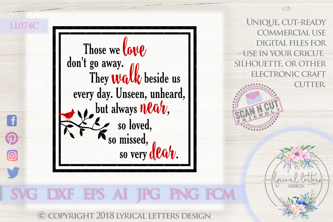 Those We Love Don't Go Away Cardinal SVG Cut File LL074 example image 1