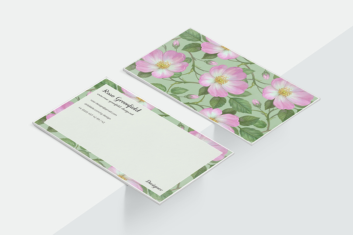 Pink Wild Rose PSD Business Card Template example image 5