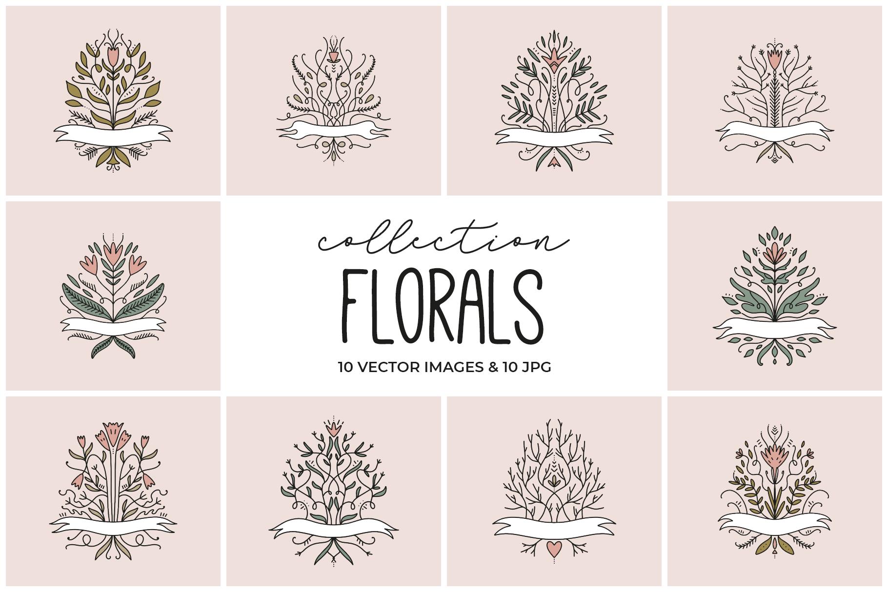 Elegant floral labels clip art set example image 1