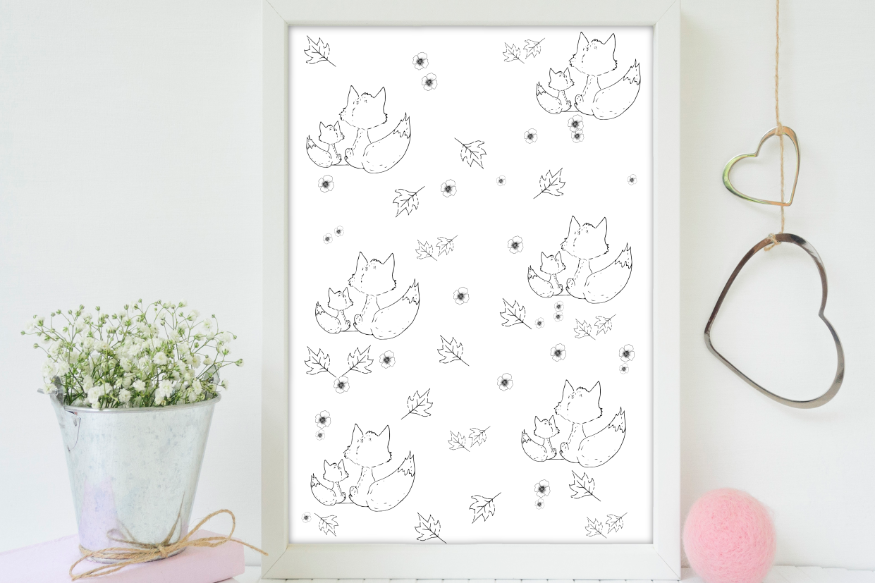 Fox and Flowers Doodle Pattern, A1, SVG example image 5