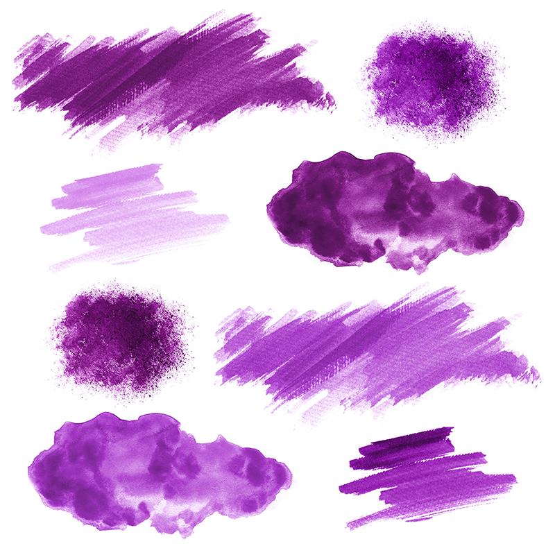 16 Purple Watercolor Design Elements example image 2