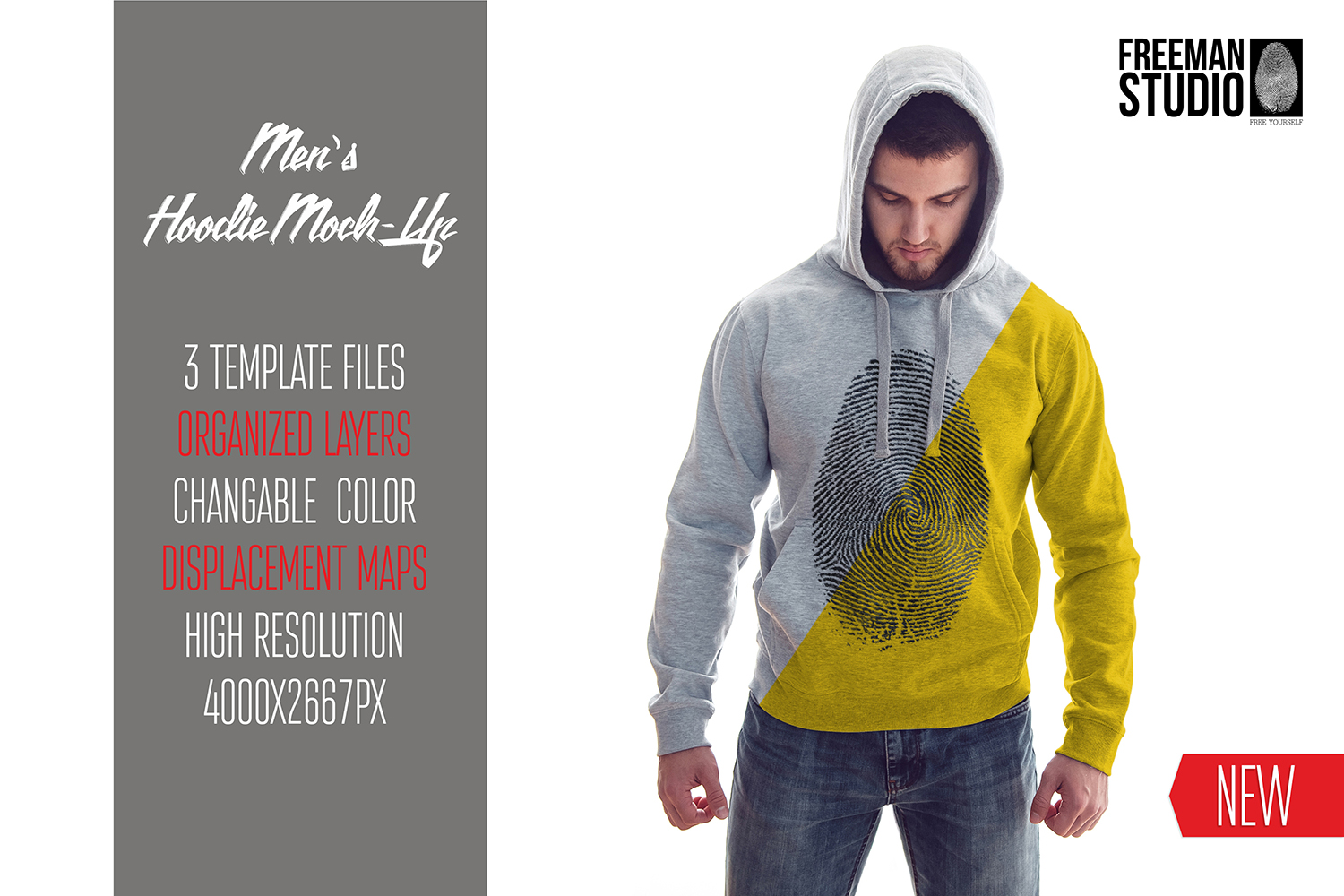 Men's Hoodie Mock-Up example image 1