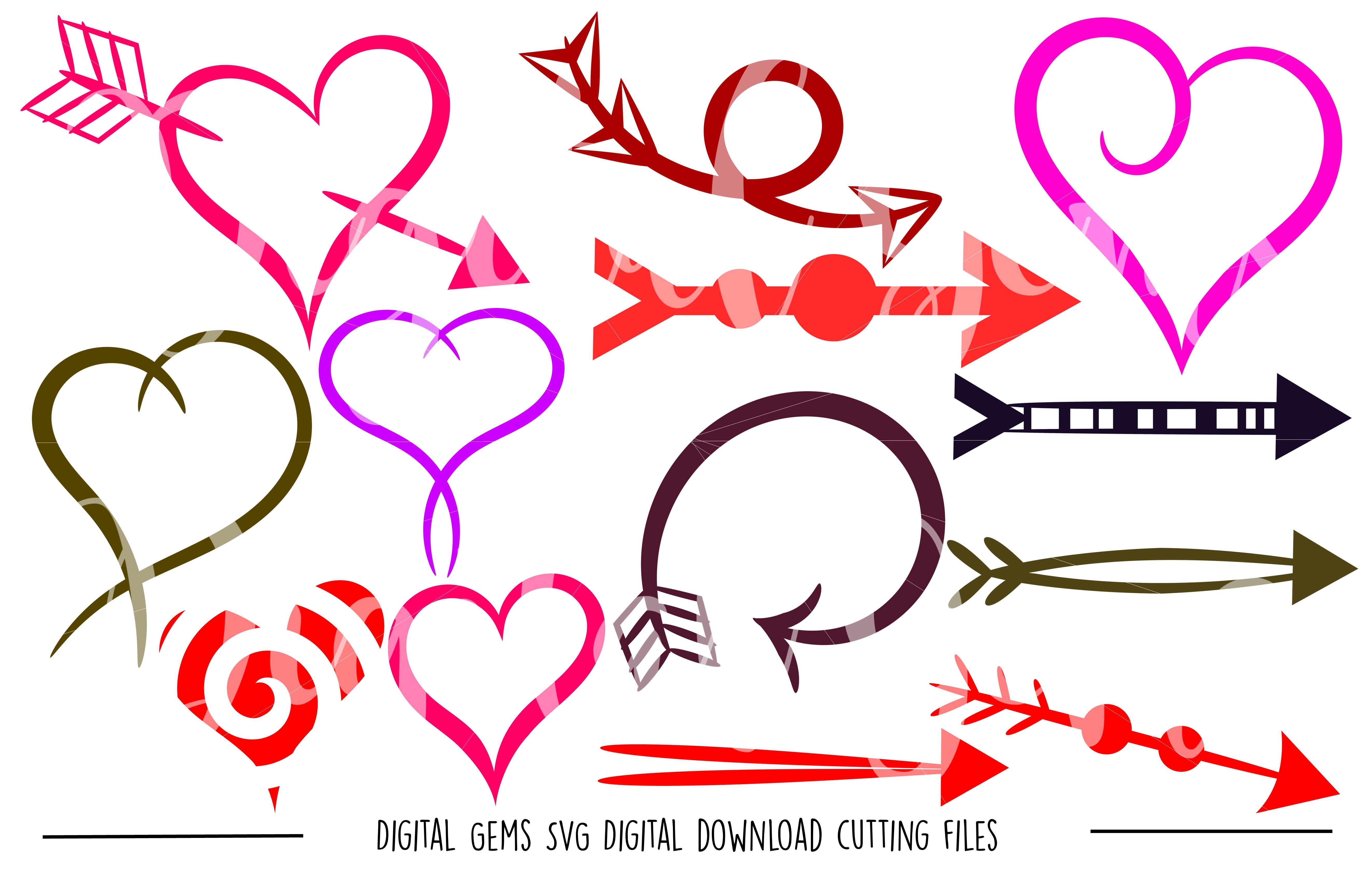 Hearts and arrows SVG / PNG / EPS / DXF Files example image 1