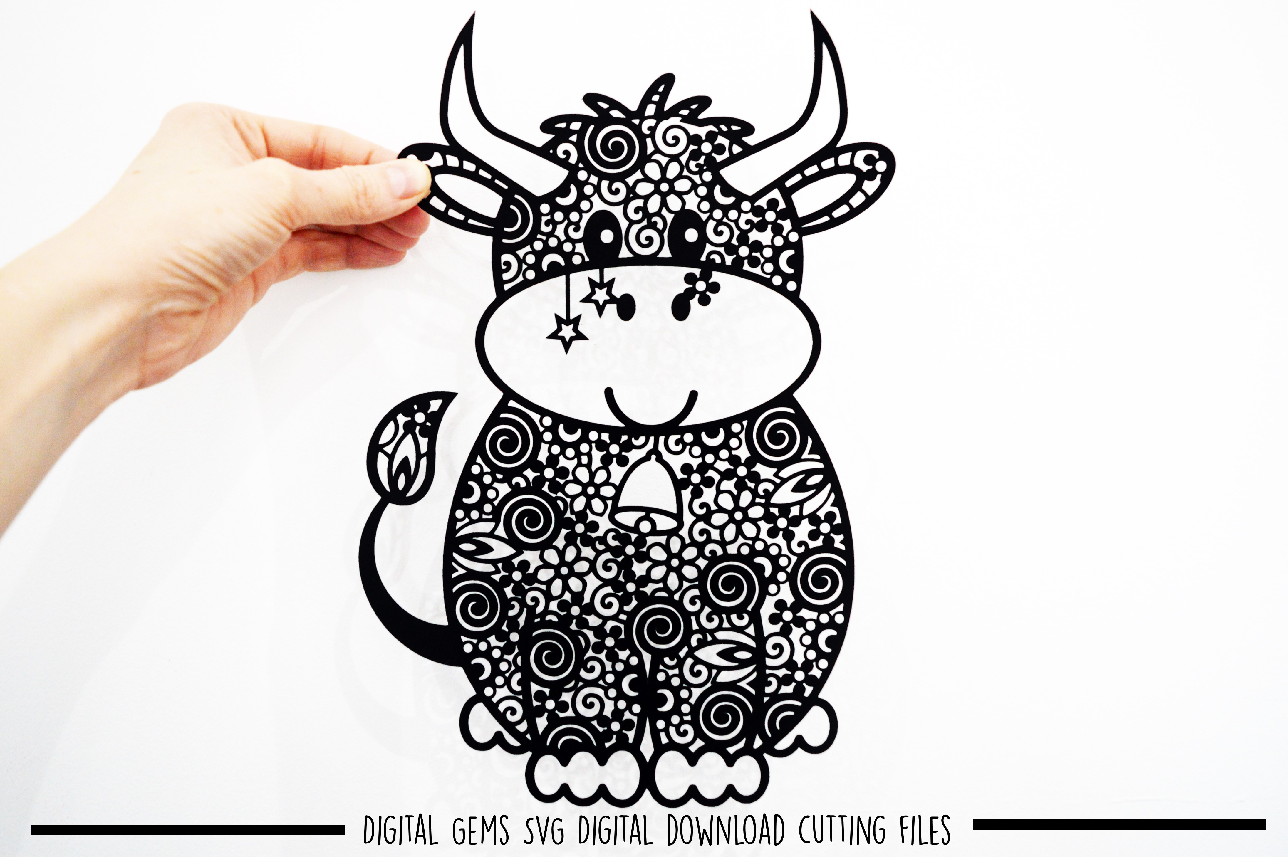 Cow paper cut SVG / DXF / EPS files example image 1
