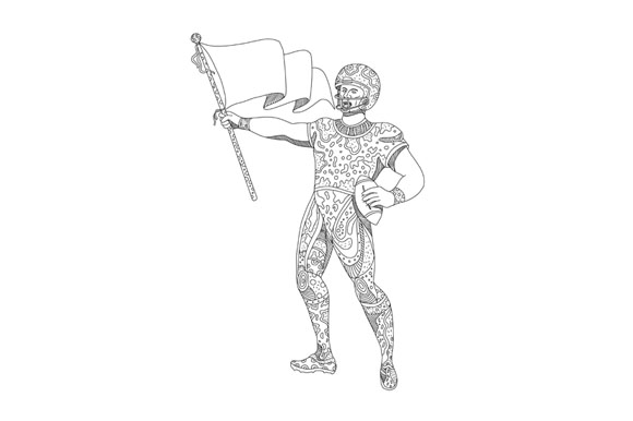 Quarterback Holding Flag Doodle example image 1