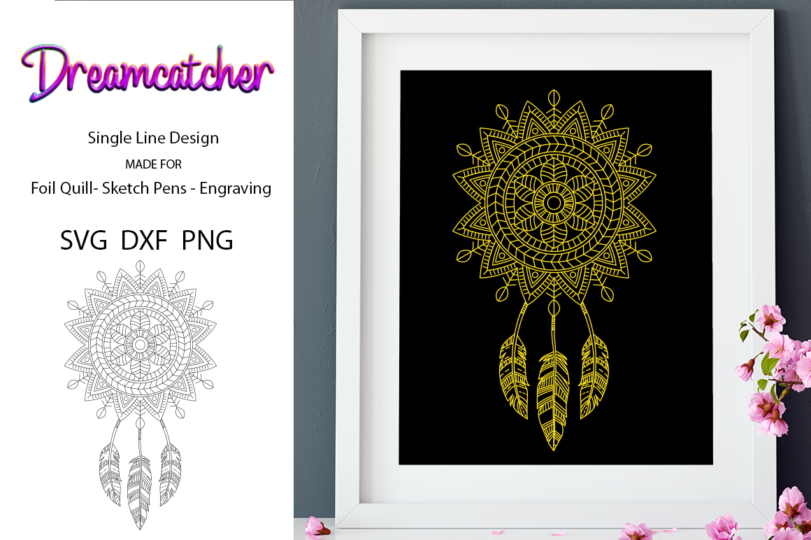 Dreamcatcher for Foil Quill|Single Line Design example image 1