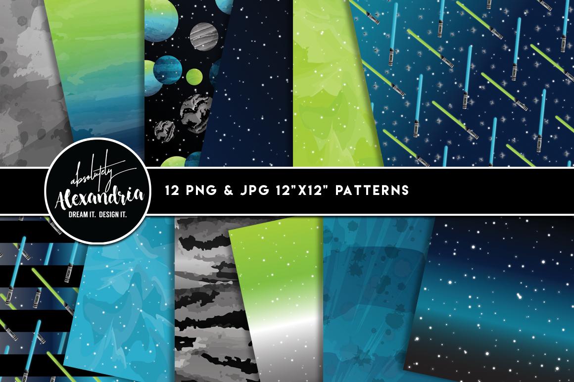 Space Wars Clipart Graphics & Digital Paper Patterns Bundle example image 2