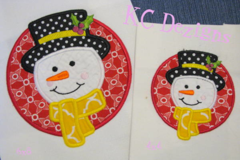 Snowman Circle Machine Applique Embroidery Design example image 1