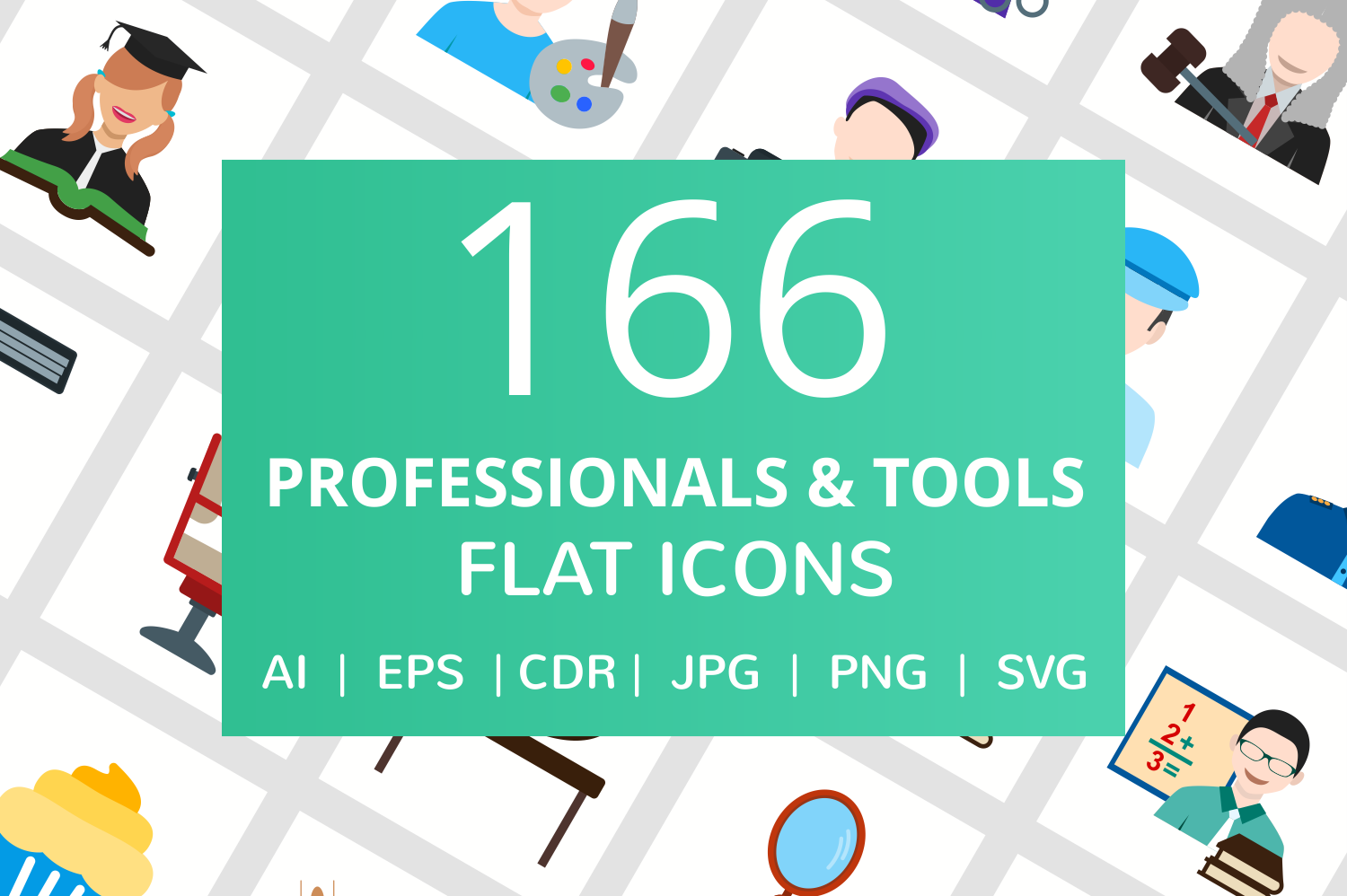 166 Professionals & their tools Flat Icons example image 1