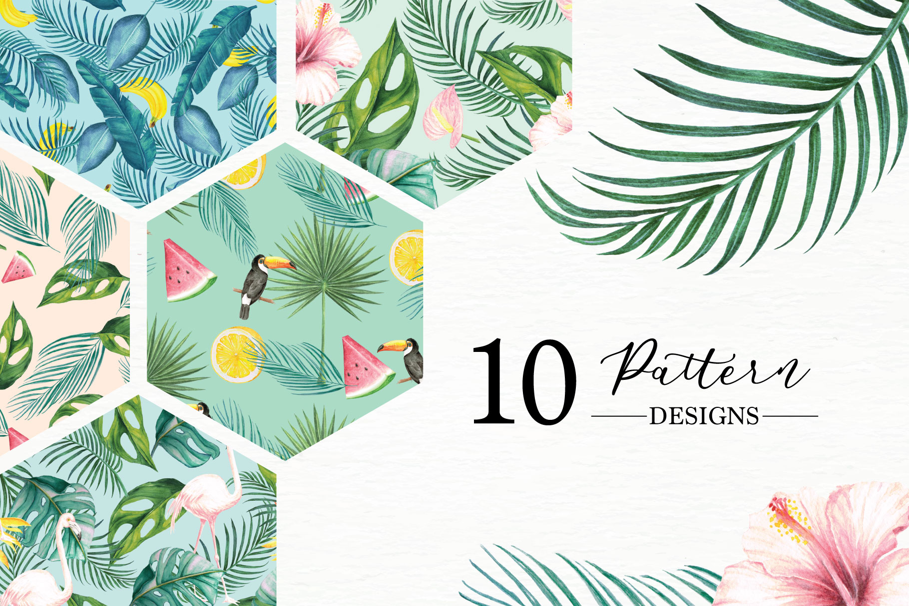 Tropical Collection - 65 Watercolor Elements example image 2