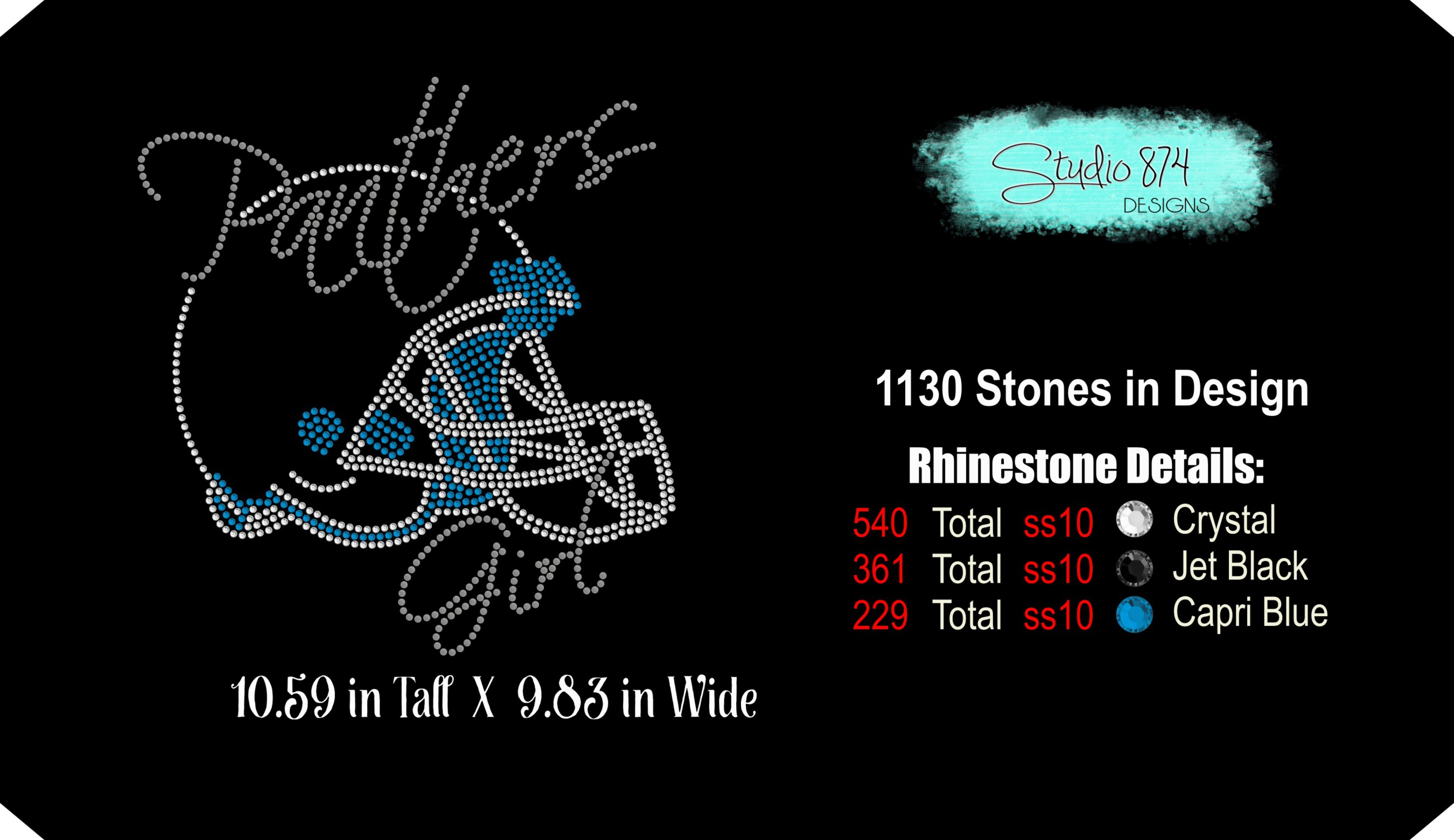 Panthers Football Rhinestone Template Download Girl R1 example image 3