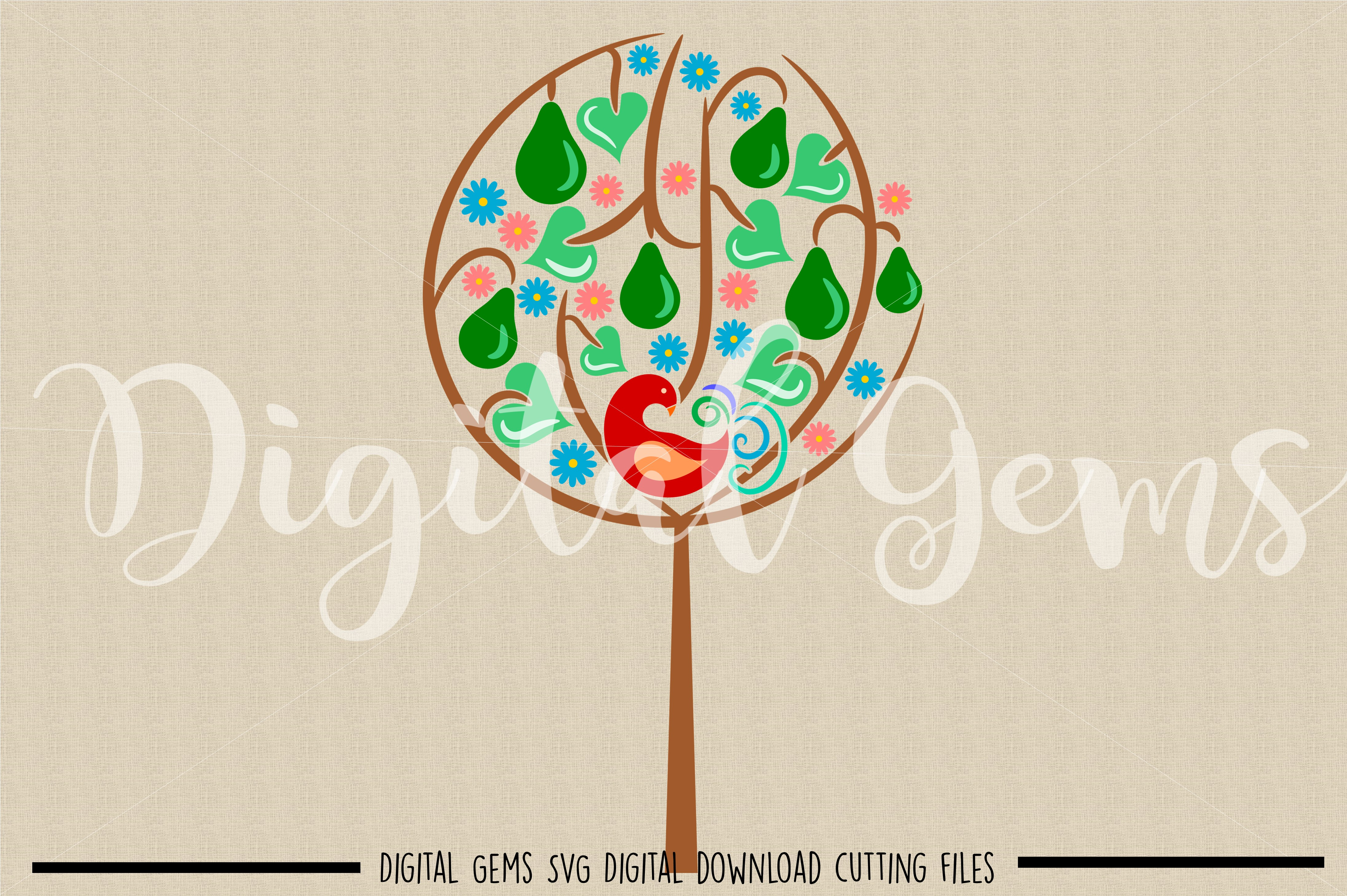 A Partridge in a pear tree SVG / DXF / EPS / PNG files example image 2