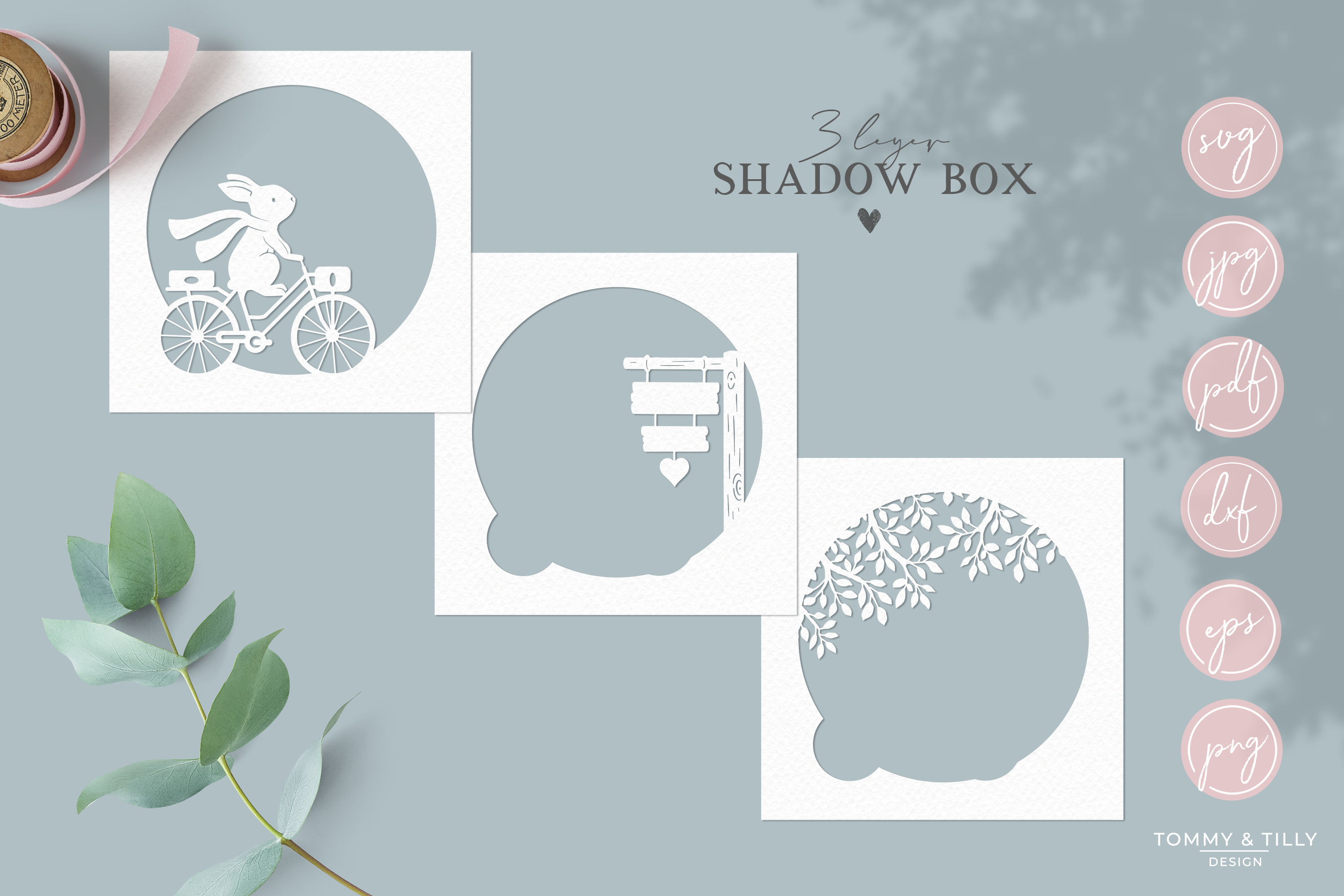Bunny Shadow Box 3D Template - SVG Papercut Cutting File example image 2
