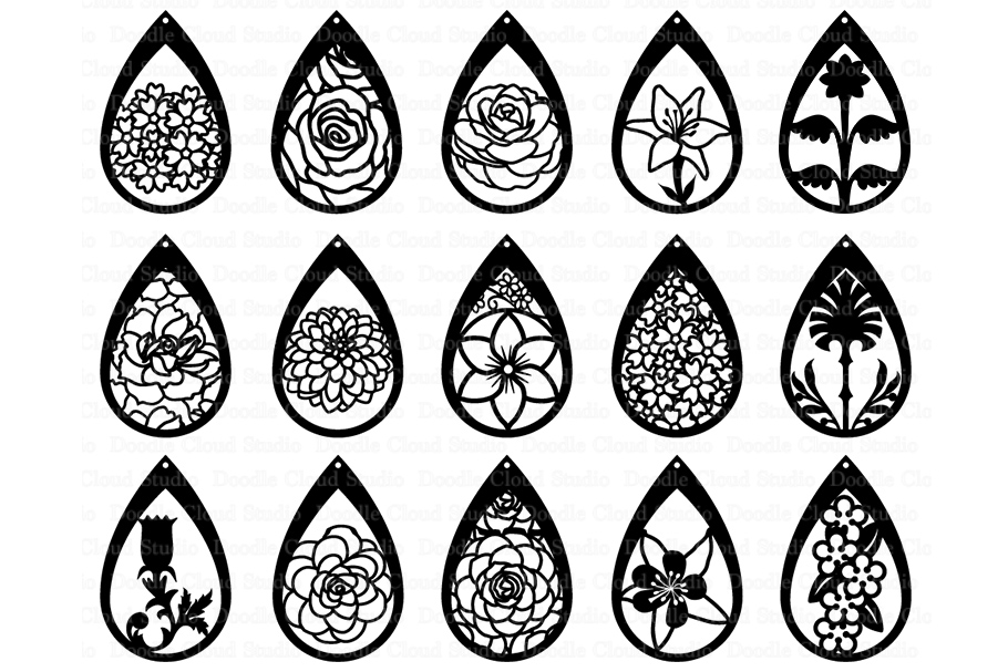06a9904fe Floral Earrings SVG, Teardrop Earrings, Pendant SVG files for Silhouette  Cameo and Cricut.