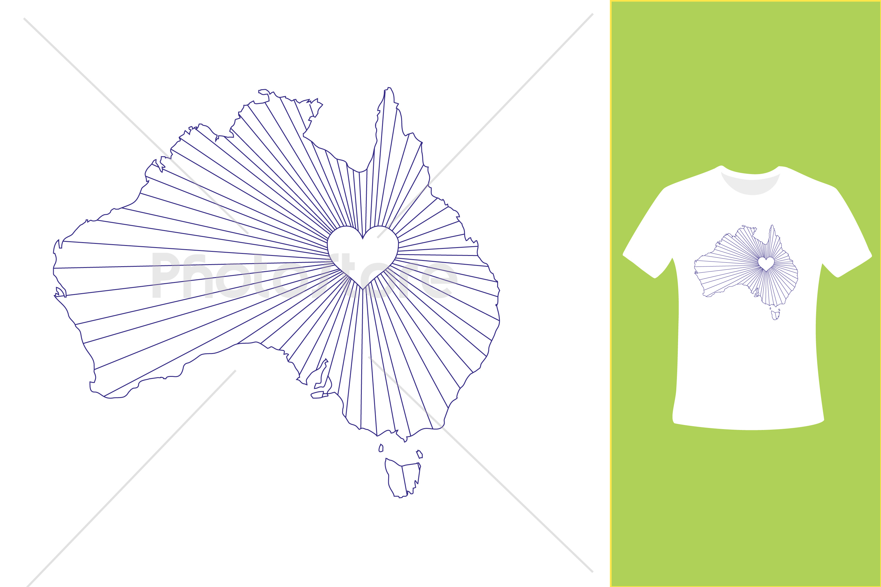 I Love Australia, Country Map Silhouette example image 4