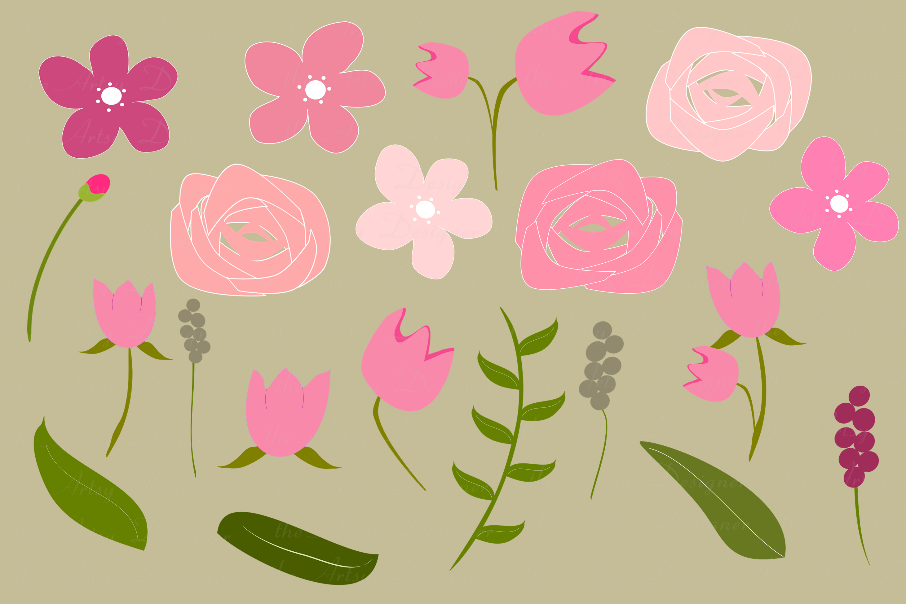 Pink Roses Tulips Flowers Sublimation Clipart Swags Bundle example image 4