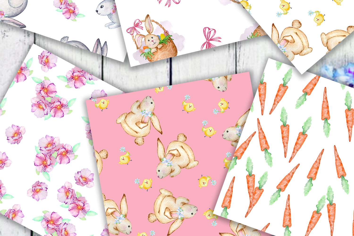 Watercolor Cute Bunny Seamless Paper Pattern example image 5