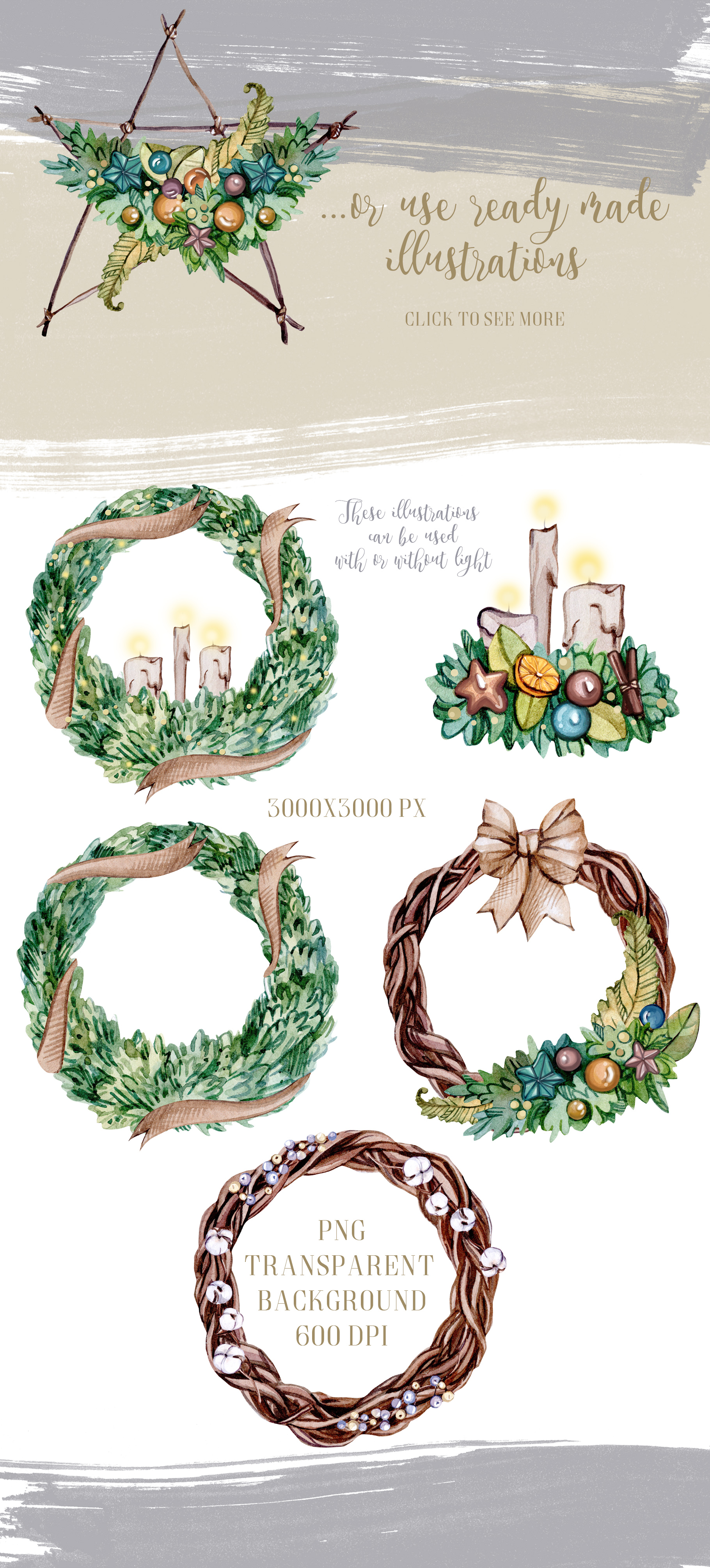 CHRISTMAS FLORISTIC watercolor collection example image 5
