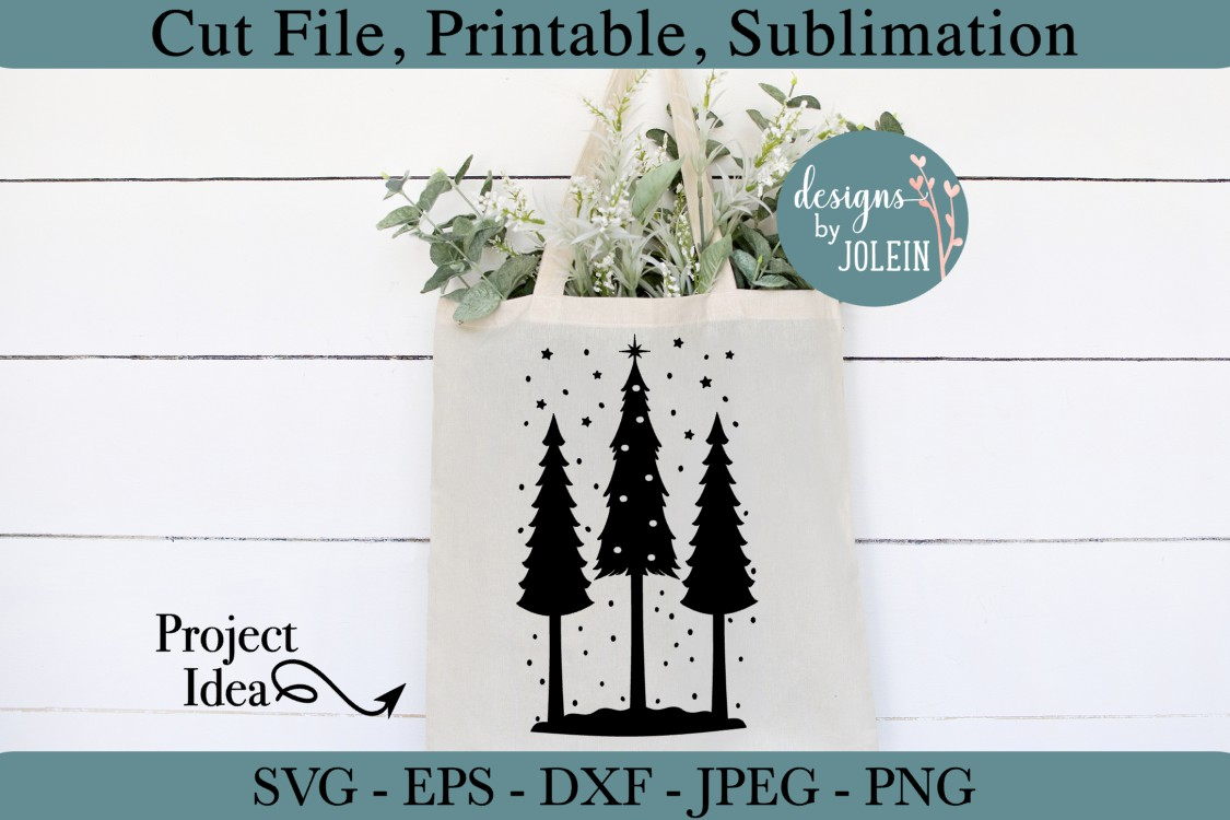 Snowy Christmas Trees SVG, png, eps, DXF, sublimation example image 3