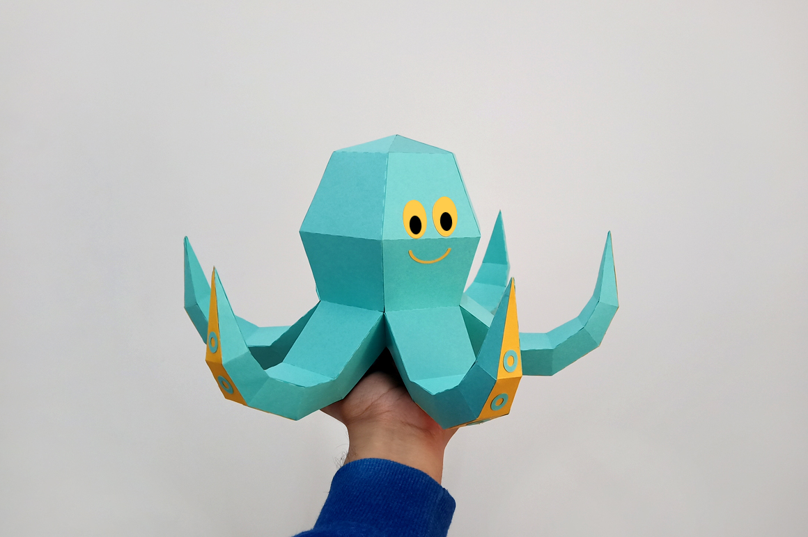 DIY Octopus Sculpture - 3d papercraft example image 4