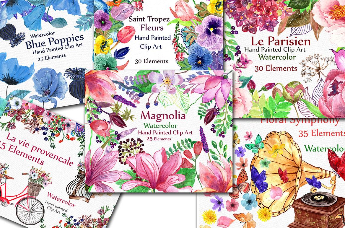 BUNDLE Watercolor floral elements example image 3