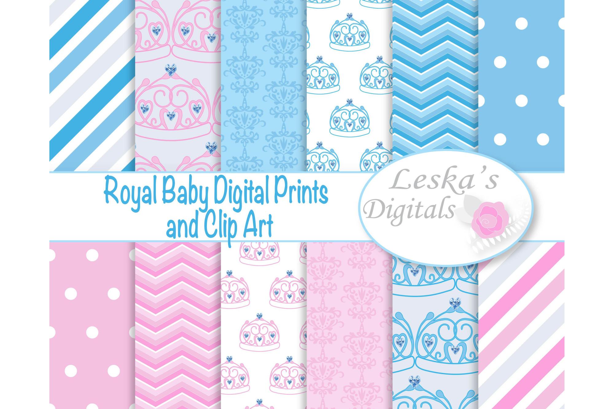 Royal Baby Digital Paper - Crown example image 1