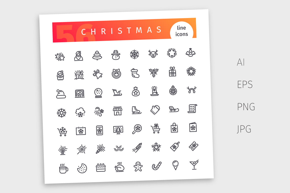 Christmas Line Icons Set example image 4