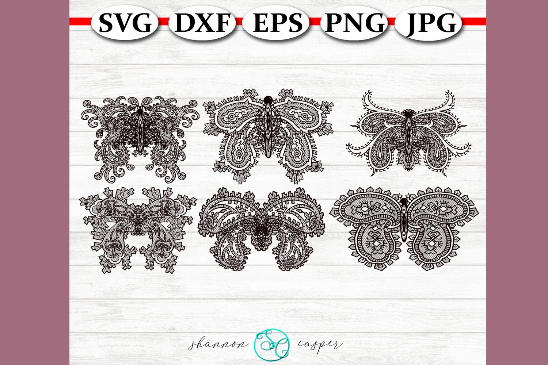Lace Paisley Butterflies SVG Bunde example image 1