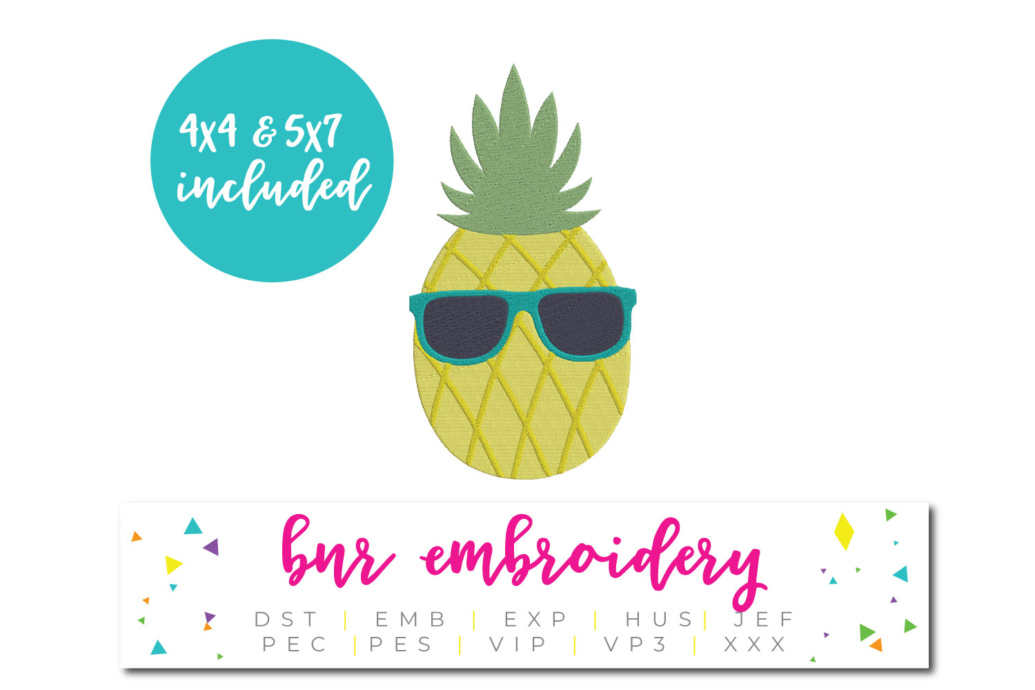 Pineapple Machine Embroidery Design, Summer Embroidery example image 1