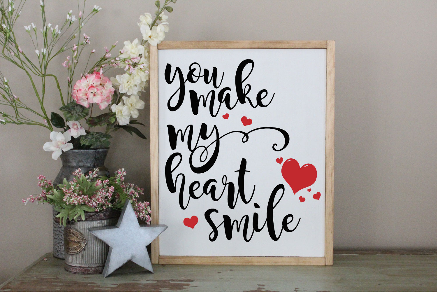 You Make My Heart Smile SVG, Wedding, Love Sublimation example image 1