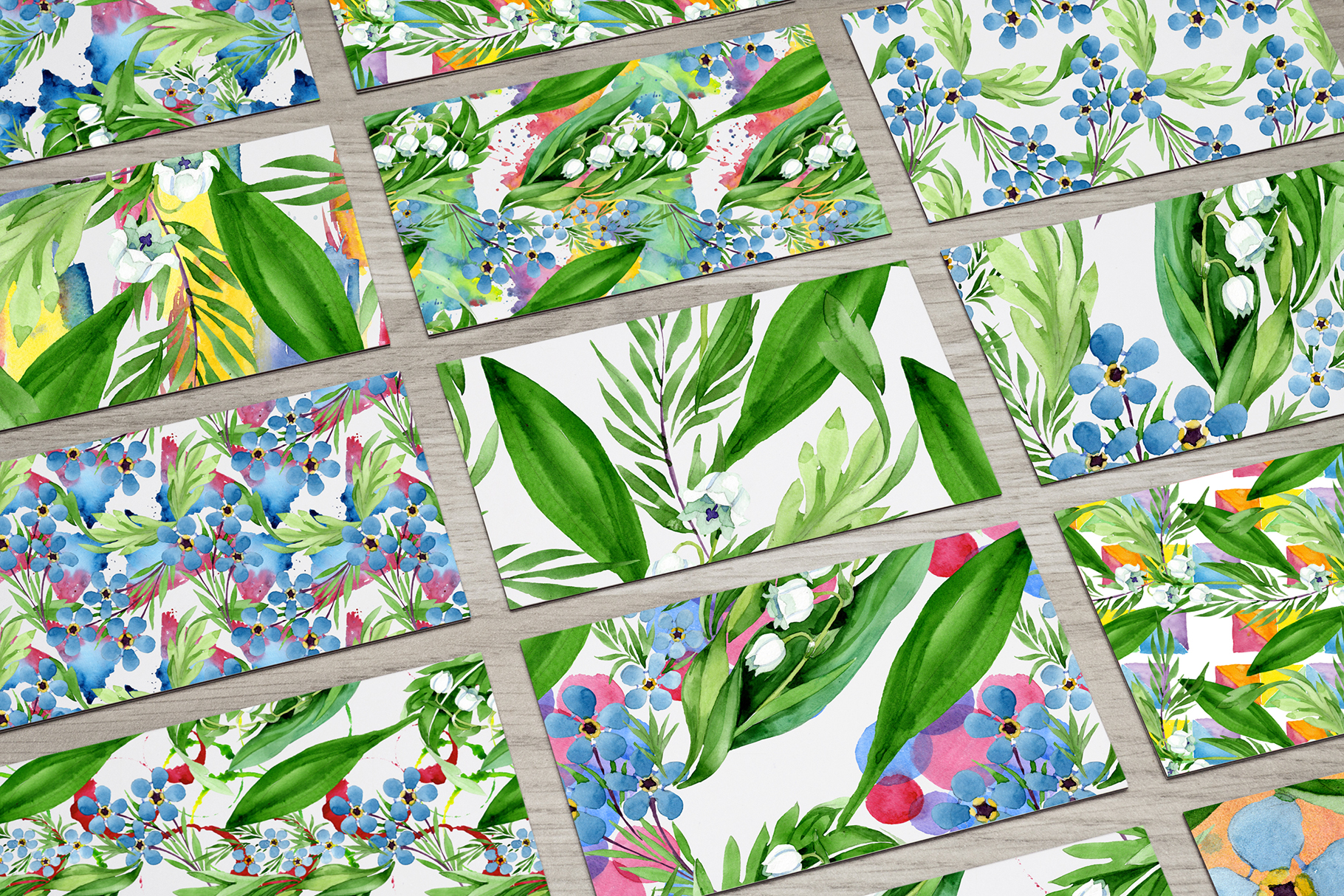 lily of the valley watercolor and forget-me-nots png example image 7